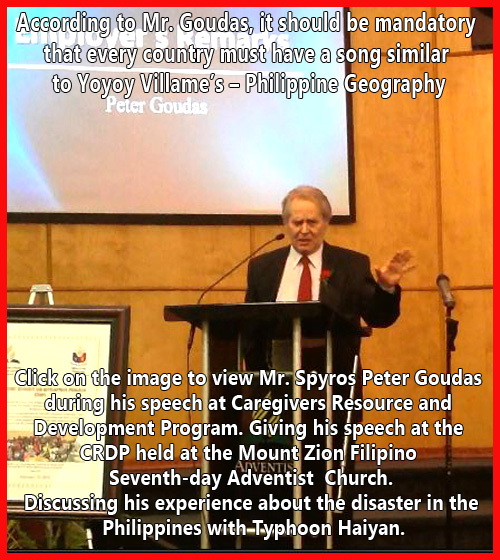 Spyros Peter Goudas giving his speech at the CRDP held at the Mount Zion Filipino Seventh-day Adventist Church.